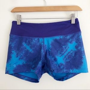 Under Armour Blue Tie Dye Fitted Spandex Shorts S